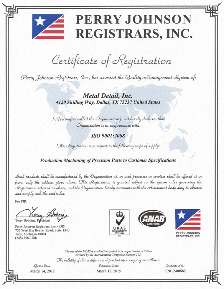 Perry Johnson Registrars-certified to ISO 9001:2008 Standards